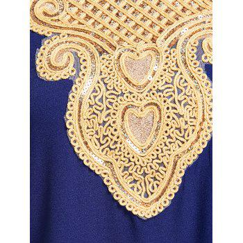 Embroidery Ankle Length Bohemian Dress - COLOR BLUE COLOR BLUE