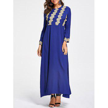 Embroidery Long Sleeve Party Evening Dress - COLOR BLUE XL