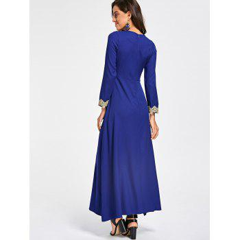 Embroidery Long Sleeve Party Evening Dress - COLOR BLUE M