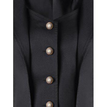 Button Up Notched Collar High Low Coat - BLACK 2XL