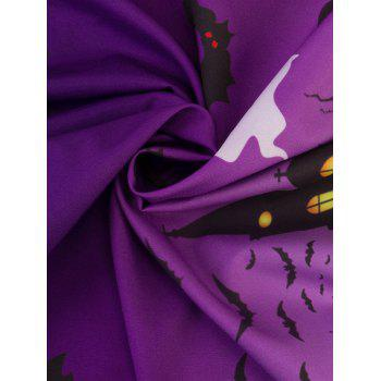Halloween Lace Panel Plus Size Dress - PURPLE 5XL