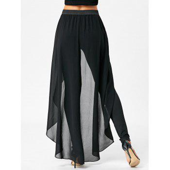High Waist Slimming Pants with Skirt - BLACK M