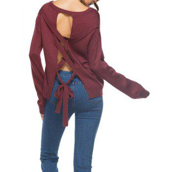 Backless Lace Up Knit Sweater - WINE RED WINE RED