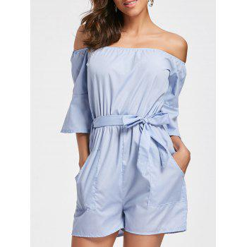 Off The Shoulder Bell Sleeve Romper - CLOUDY CLOUDY