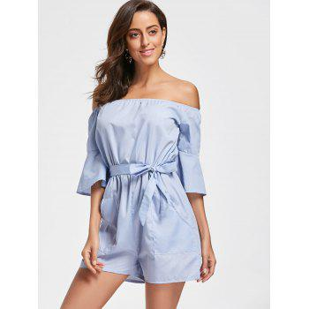 Off The Shoulder Bell Sleeve Romper - CLOUDY S