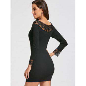 Long Sleeve Lace Mesh Insert Dress - BLACK M