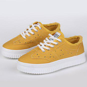 Tie Up Hollow Out Canvas Shoes - YELLOW YELLOW