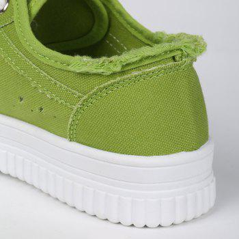 Tie Up Hollow Out Canvas Shoes - GREEN GREEN