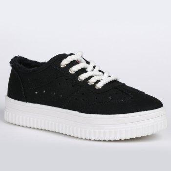 Tie Up Hollow Out Canvas Shoes - BLACK BLACK