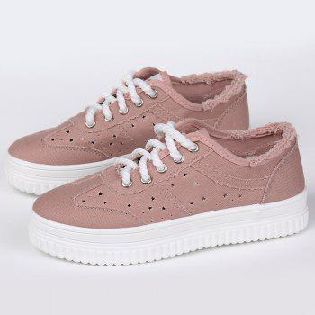 Tie Up Hollow Out Canvas Shoes - PINK PINK