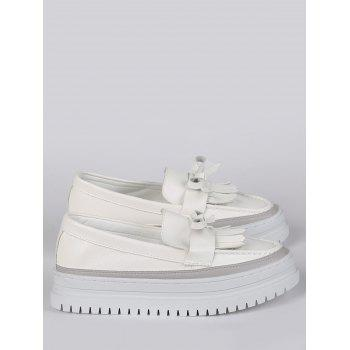 Fringed Bowknot Slip On Platform Shoes - WHITE 38