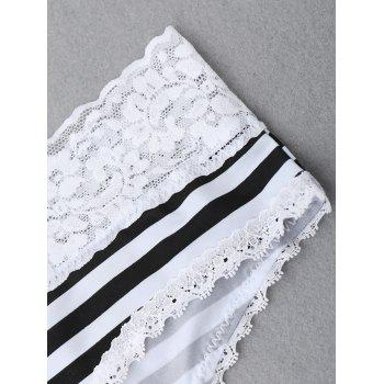 Striped Panties with Lace - WHITE/BLACK S
