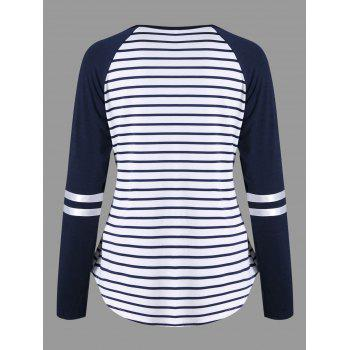Lattice Neck Striped Curved Top - BLUE STRIPE 2XL