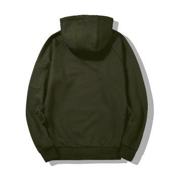 Handle With Care Graphic Flocking Hoodie - ARMY GREEN XL