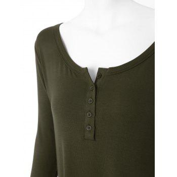 Plus Size High Low Button Embellished Tee - BLACKISH GREEN 2XL
