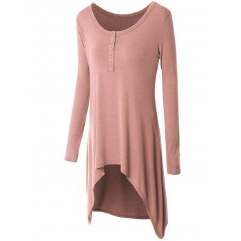 Plus Size High Low Button Embellished Tee - LIGHT PINK XL
