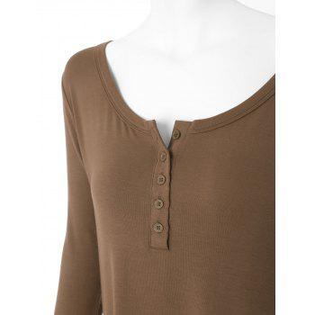Plus Size High Low Button Embellished Tee - BROWN XL