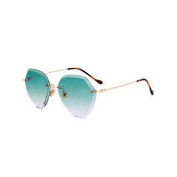 Metallic Legs Ombre Lens Rimless Sunglasses - LIGHT GREEN LIGHT GREEN
