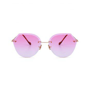 Metallic Legs Ombre Lens Rimless Sunglasses - LIGHT PINK