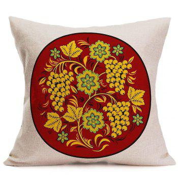 Linen Grapes Flowers Printed Pillow Case - BROWN BROWN