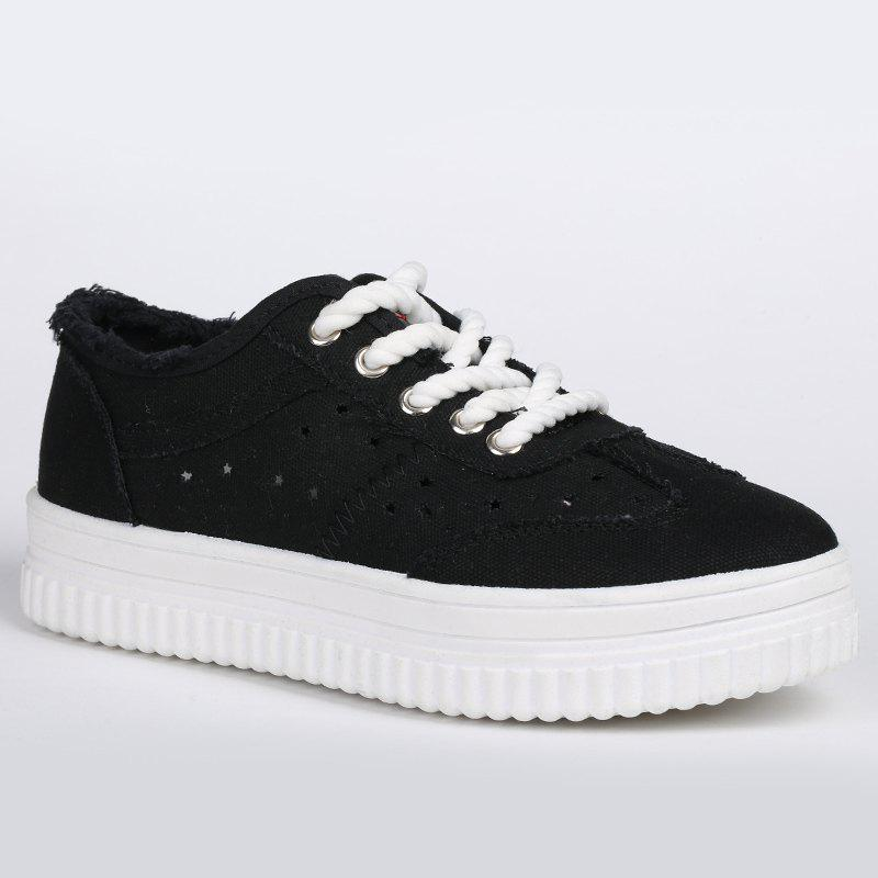 Tie Up Hollow Out Canvas Shoes - BLACK 39