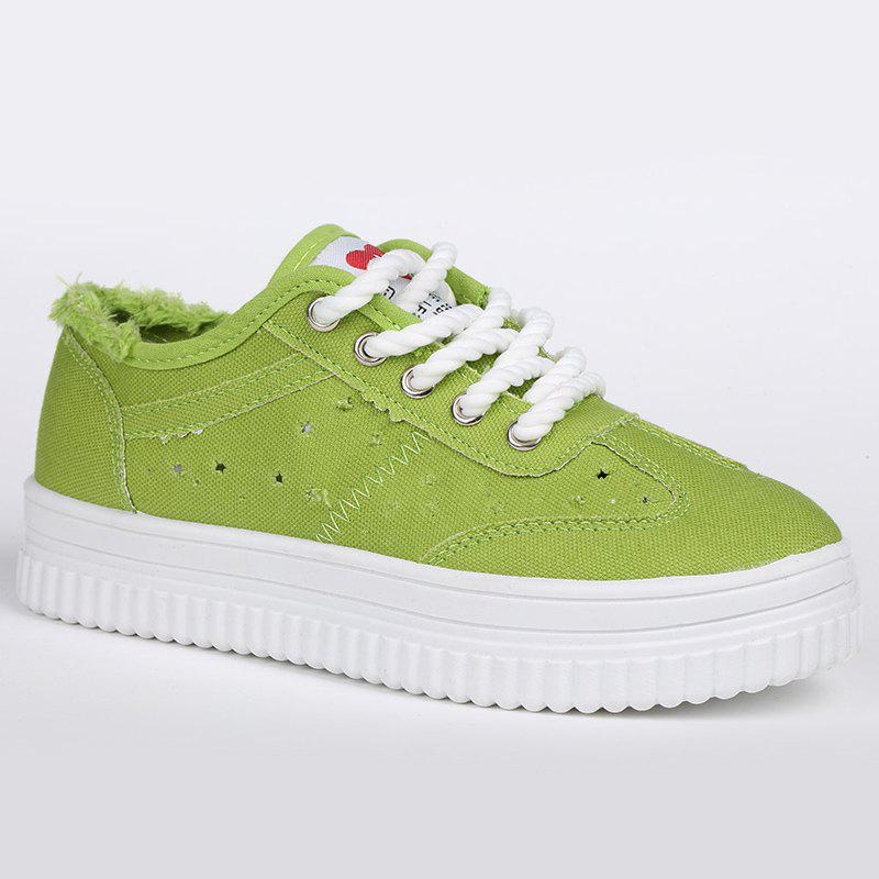 Tie Up Hollow Out Canvas Shoes - GREEN 37