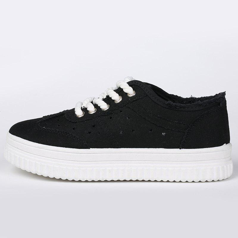 Tie Up Hollow Out Canvas Shoes - BLACK 37