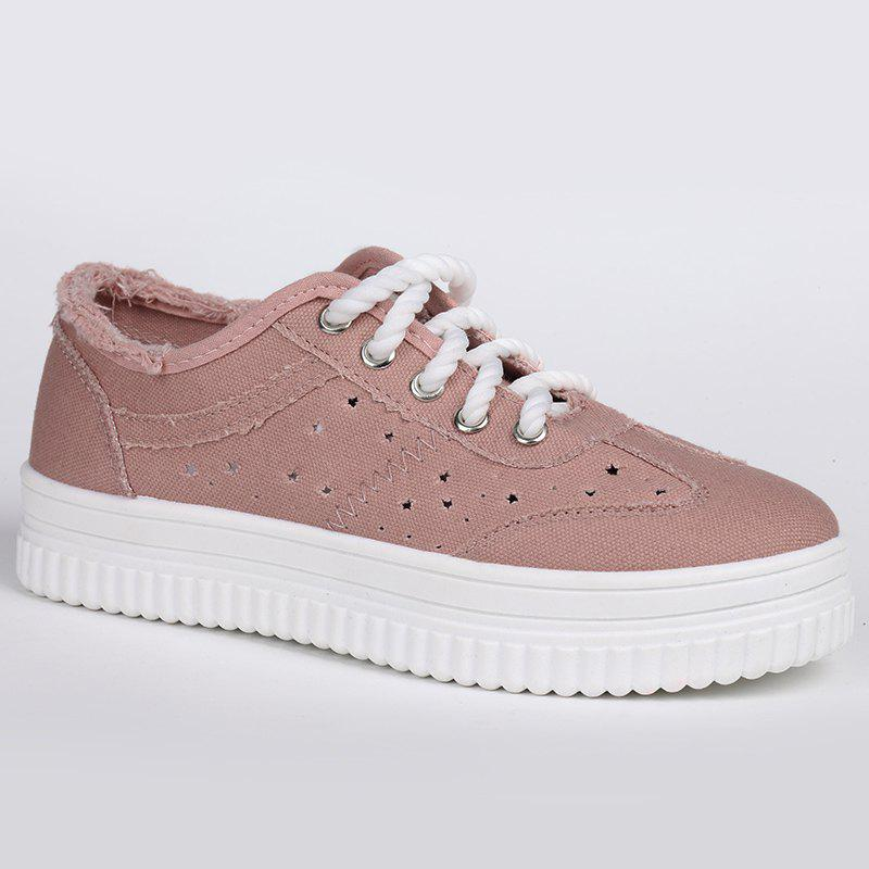 Tie Up Hollow Out Canvas Shoes - PINK 38