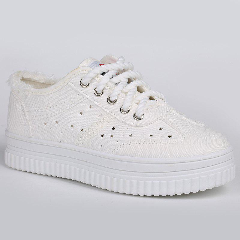 Tie Up Hollow Out Canvas Shoes - WHITE 39