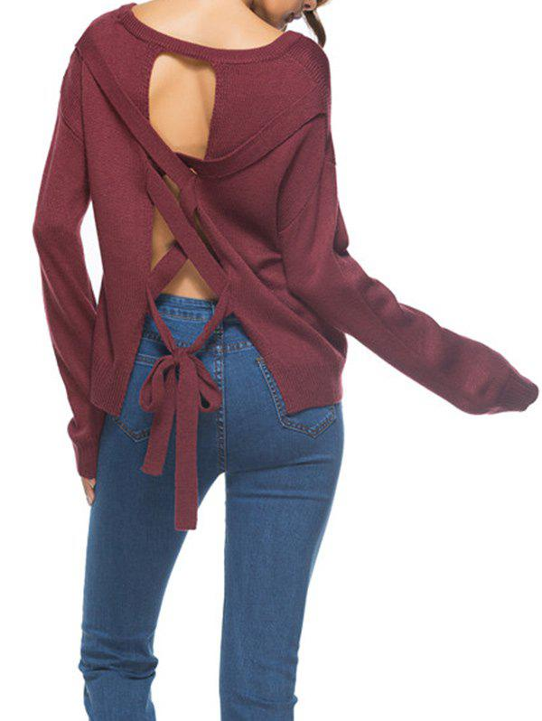 Backless Lace Up Knit Sweater - WINE RED ONE SIZE