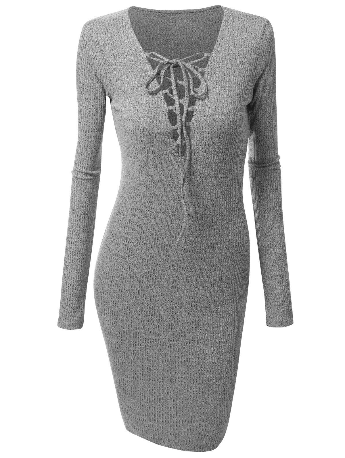 Plus Size Lace Up Knitted Dress