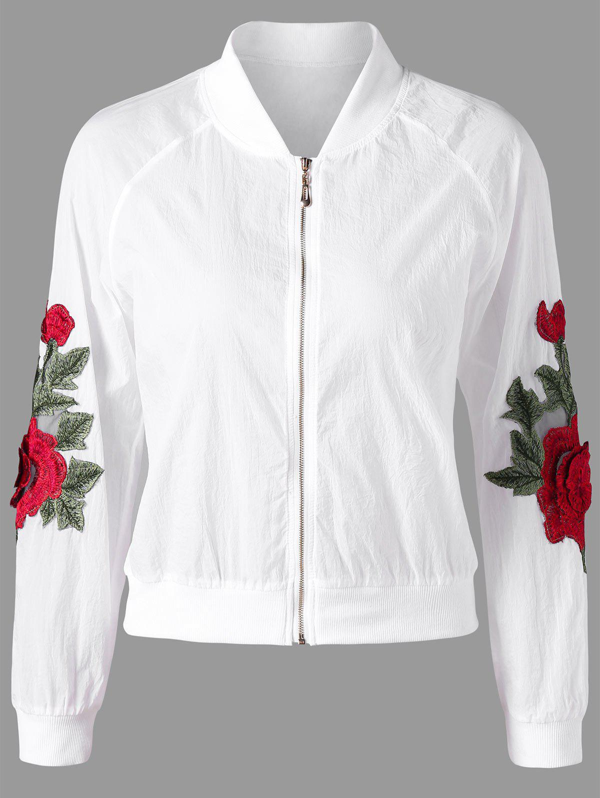 Floral Appliqued Zip Up Jacket - WHITE 2XL