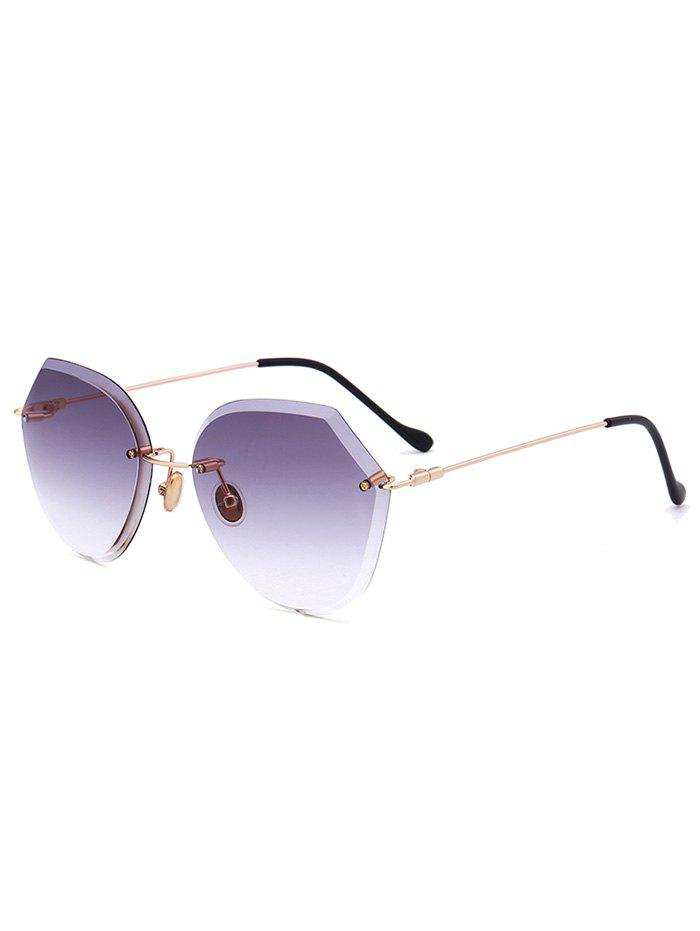 Metallic Legs Ombre Lens Rimless Sunglasses - LIGHT PURPLE