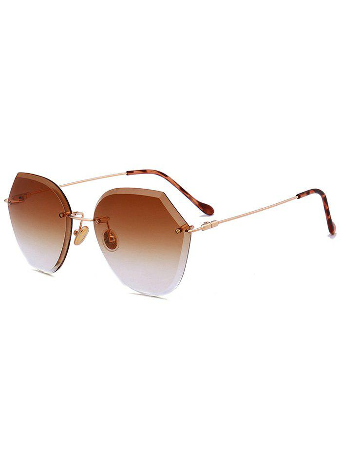 Metallic Legs Ombre Lens Rimless Sunglasses - CHOCOLATE