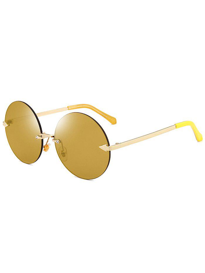 Round Jelly Lens Rimless Sunglasses - LUXURY GOLD COLOR
