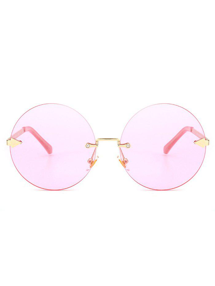 Round Jelly Lens Rimless Sunglasses - LIGHT PINK