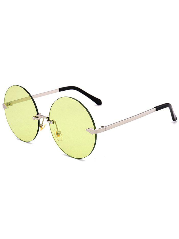 Round Jelly Lens Rimless Sunglasses - CELADON