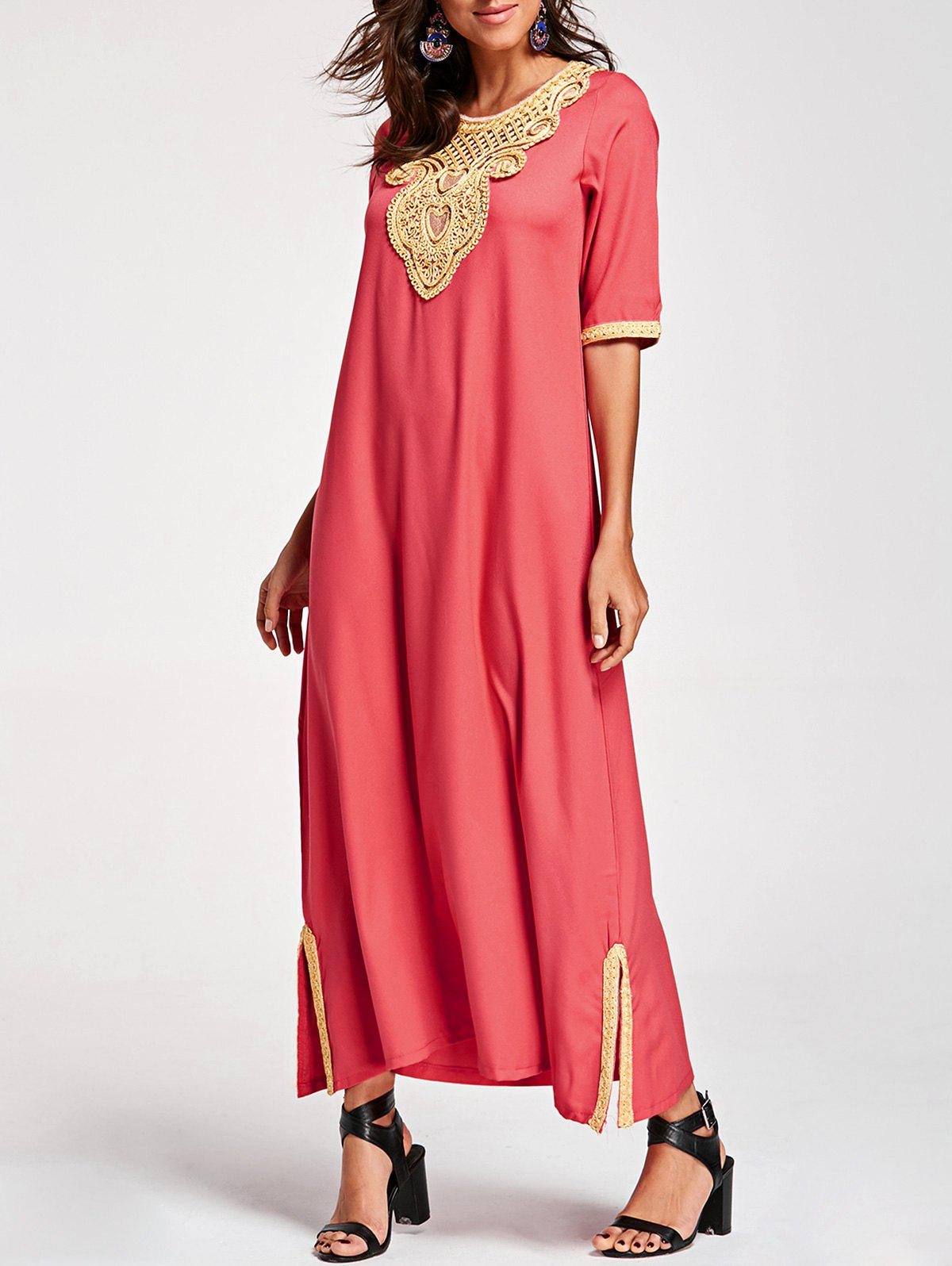 Embroidery Ankle Length Bohemian Dress - WATERMELON RED L