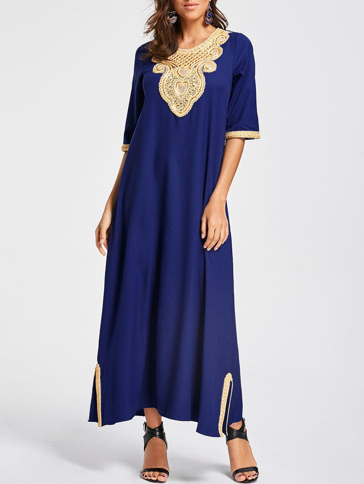Embroidery Ankle Length Bohemian Dress - COLOR BLUE M