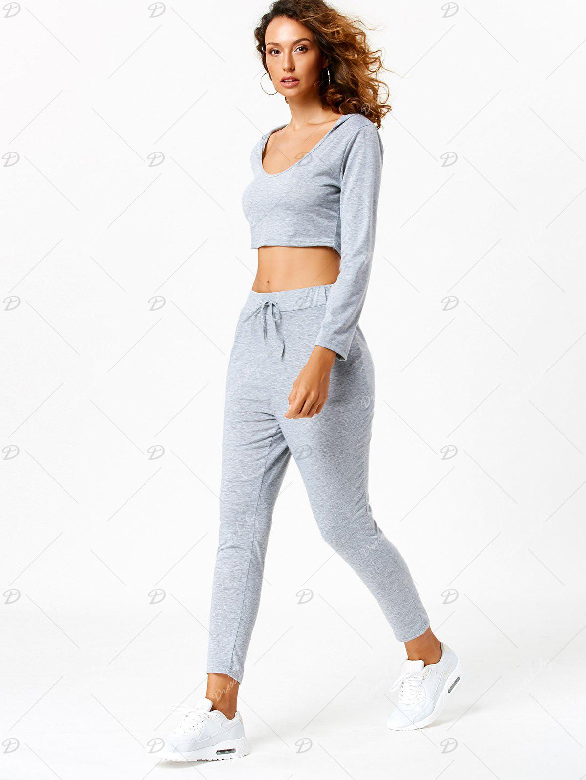 Long Sleeve Hooded Crop Top with Sport Pants - LIGHT GRAY M