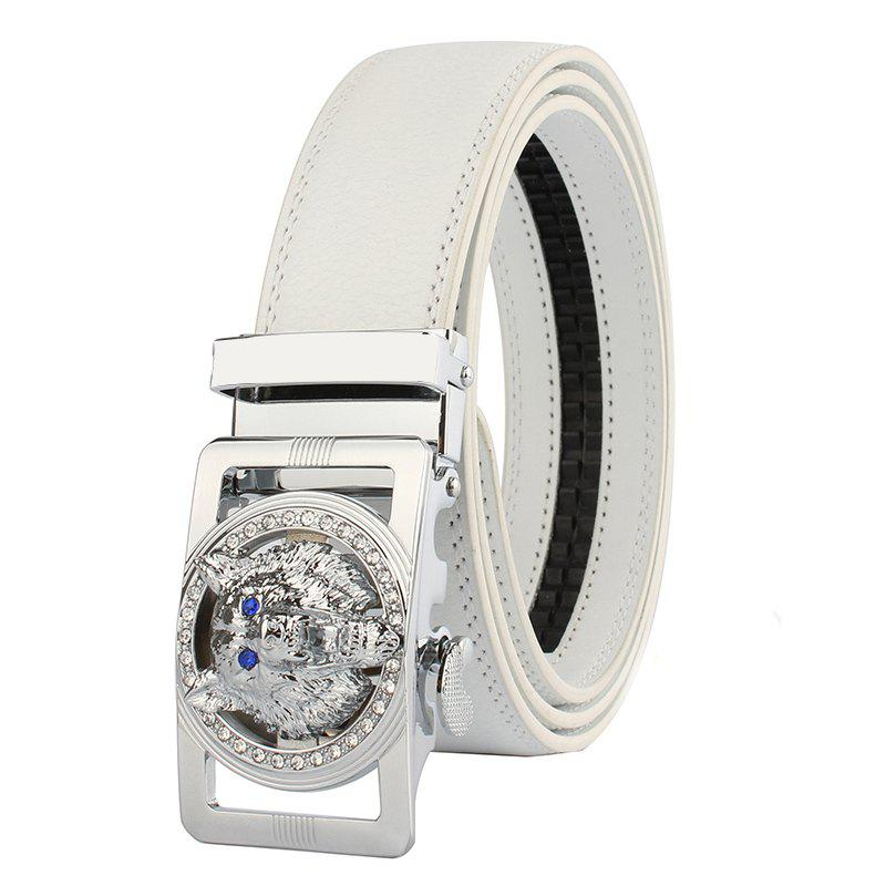 Rhinestone Alloy Auto Buckle Wolf Carving Belt - SILVER/WHITE 130CM