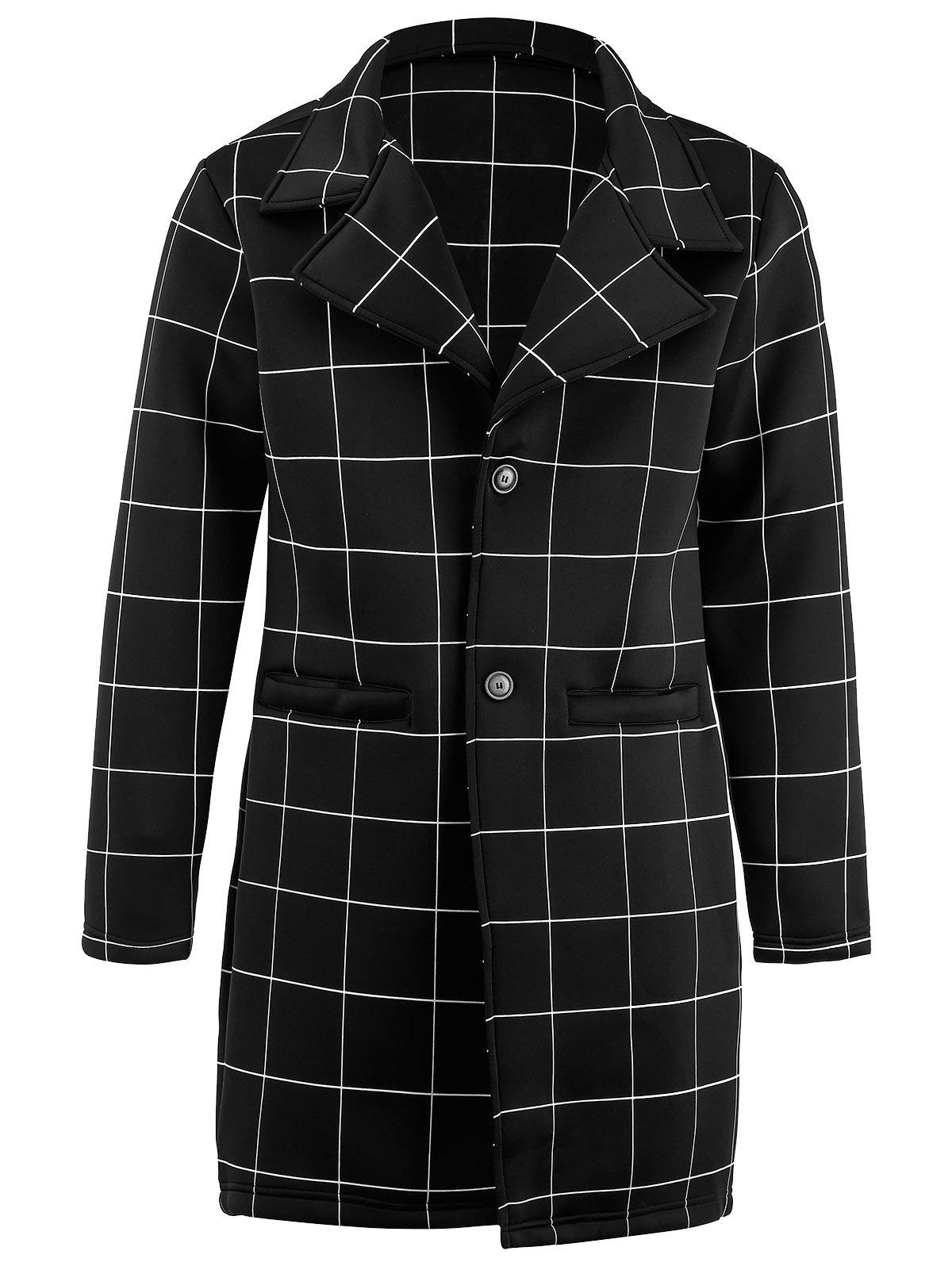 Single Breasted Longline Checked Coat single breasted side checked dress