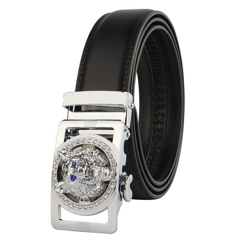 Rhinestone Alloy Auto Buckle Wolf Carving Belt - SILVER/BLACK 110CM
