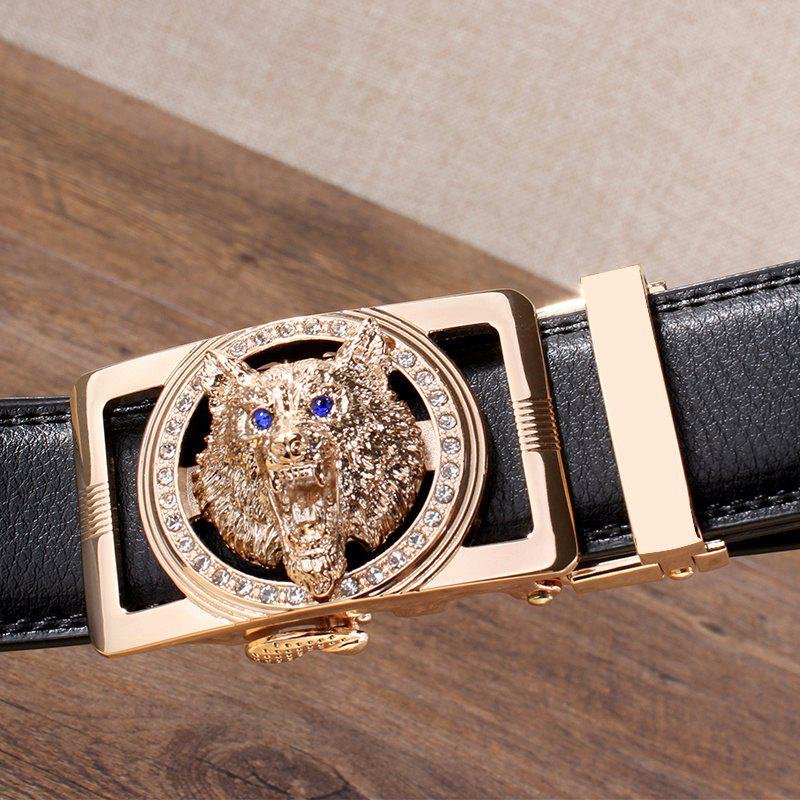 Rhinestone Alloy Auto Buckle Wolf Carving Belt - BLACK/GOLDEN 120CM