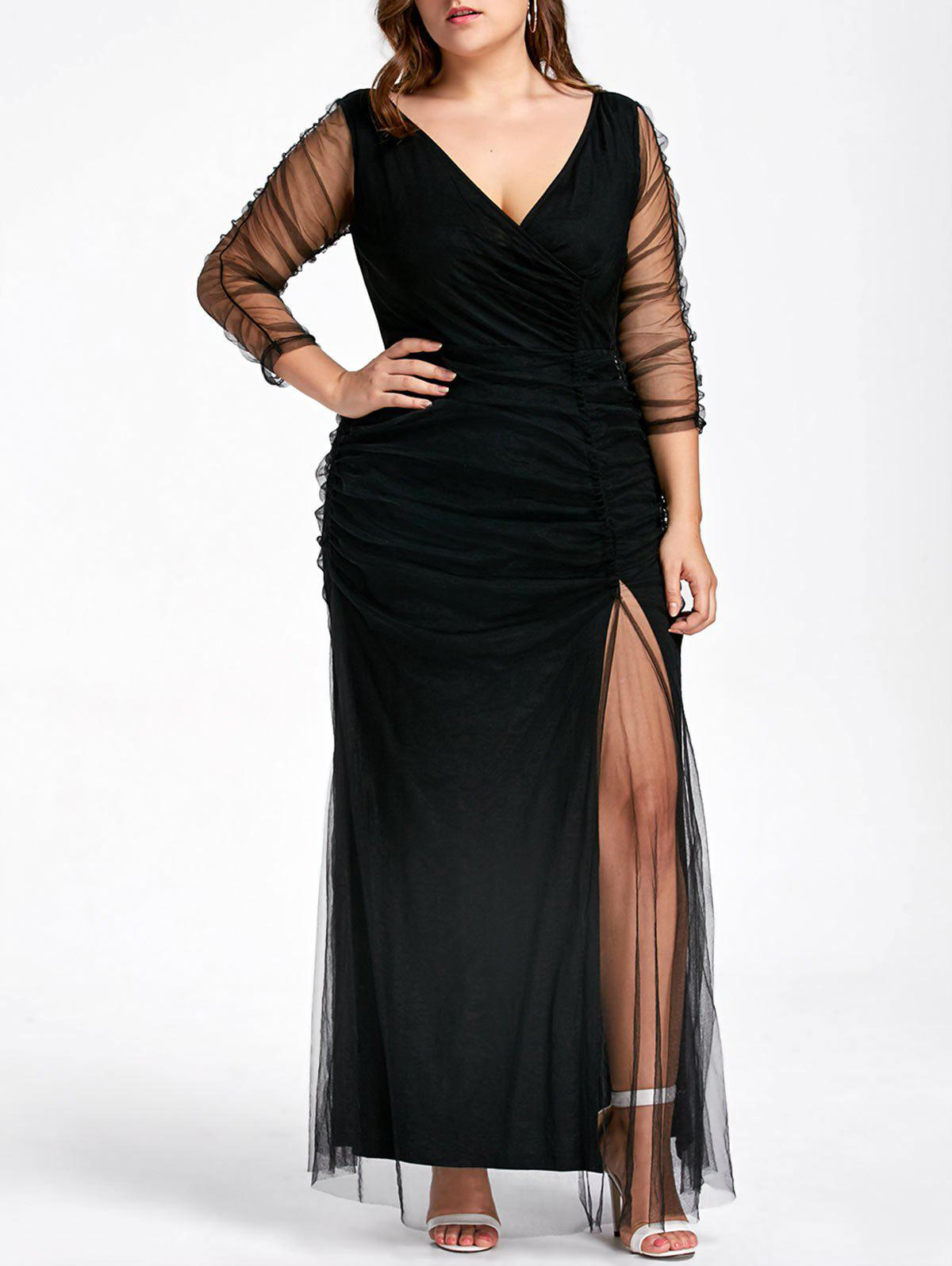 Plus Size Ruched Sheer Formal Dress plus size sheer lace insert ruched skeggings