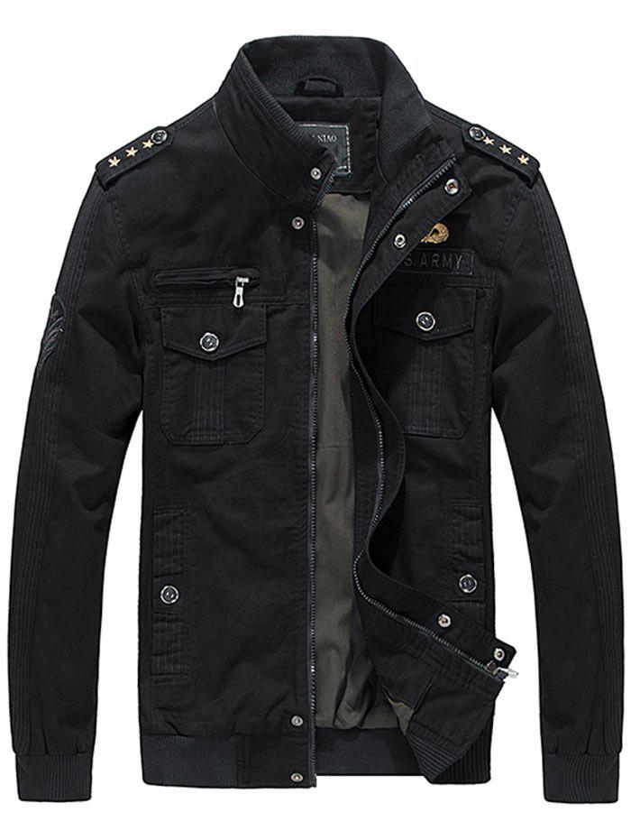 Epaulet Design Star Embroidery Zip Up Jacket - BLACK M