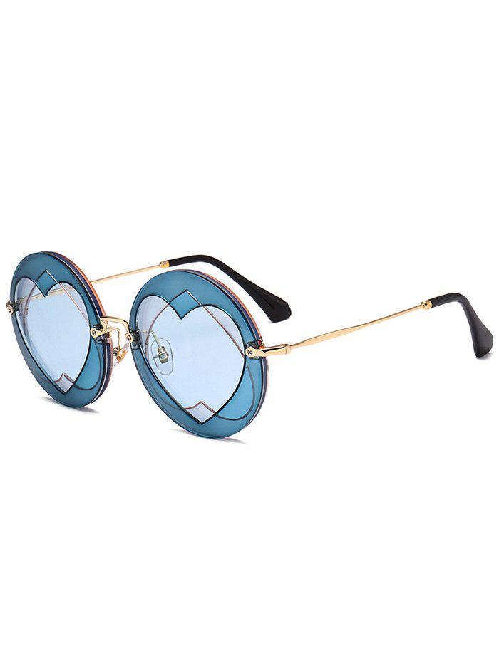 Double Reverse Heart Insert Round Sunglasses - BLUE