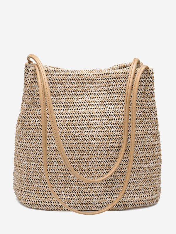 Straw Bucket Shoulder Bag - PALOMINO