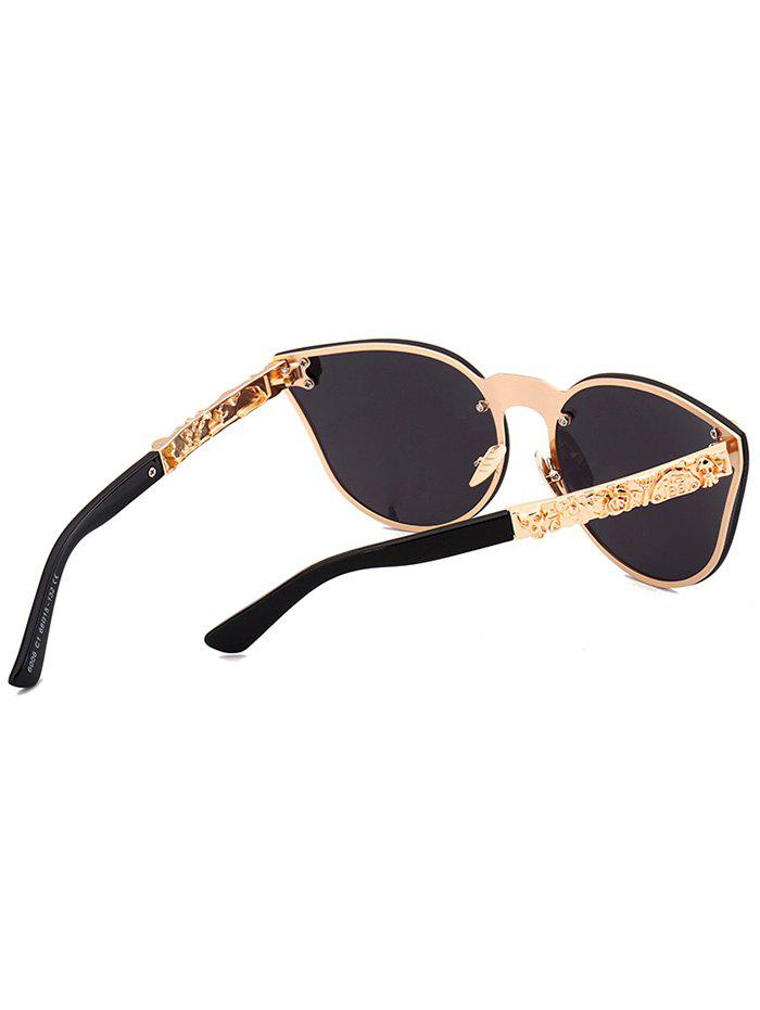Skull Insert Butterfly Lens Mirror Sunglasses - BLACK