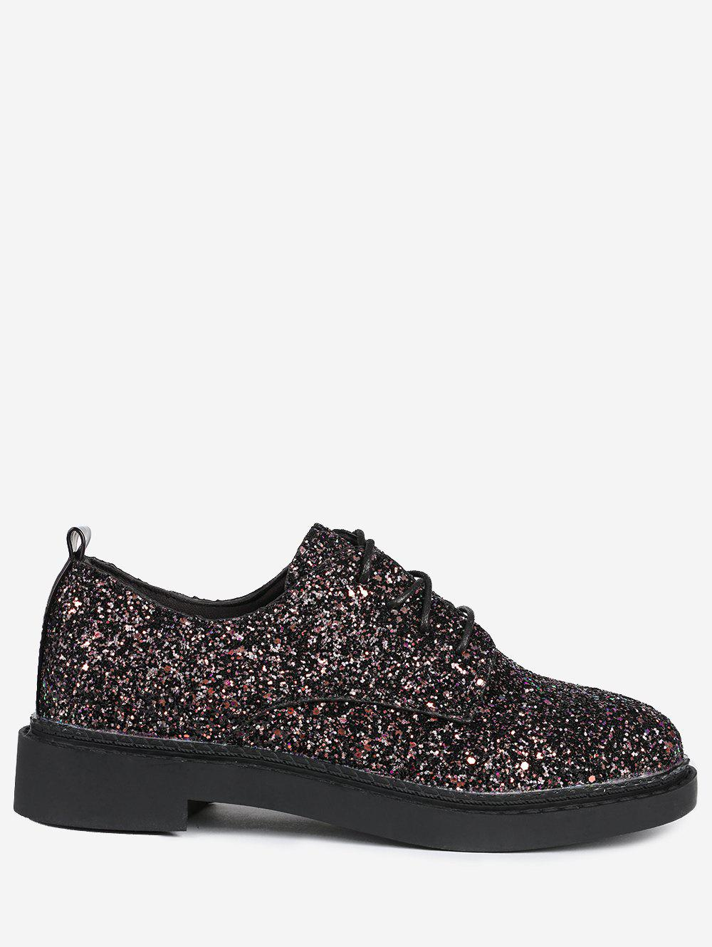 Glitter Low Top Tie Up Flat Shoes - BLACK 38